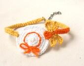 Crochet anklet bracelet butterfly on hat, barefoot accessory