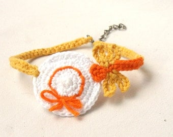 Crochet anklet bracelet butterfly on hat, barefoot accessory