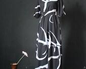 Black Dress Maxi Dress Abstract Print Party Coast Chiffon Sundress Short Sleeves