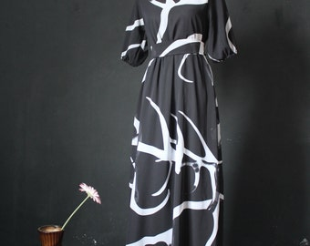 Black Dress Maxi Dress Abstract Print Party Coast Chiffon Sundress Short Sleeves