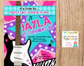 GIRLS ROCK - Rock Star Party personalized invite - You Print - with or without photo