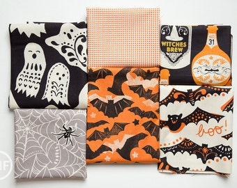 Fat Quarter Bundle Spooktacular Eve, 6 Pieces, Maude Asbury, Blend Fabrics, 100% Cotton Fabric, 101.107