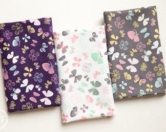 Kitten's Meow Butterflies Half Yard Bundle, 3 Pieces, Heather Rosas, 100% Cotton, Camelot Fabrics, 6141403