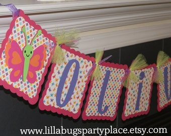 Butterfly Banner, Personalized, Pink, Girl Party or Baby Shower  -- MADE to ORDER