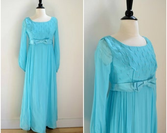 Vintage 1960's blue prom gown / long sheer sleeved empire waist dress / beaded bodice formal gown with bow belt