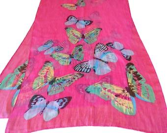 Vintage Scarf Fushia Pink Butterflies Sheer Large Scarves Shawl D33