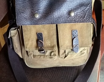 BOHO Vintage Backpack..Rustic canvas & high quality Leather. Unisex .college .MINT.Travel.Back to school.Just the right size