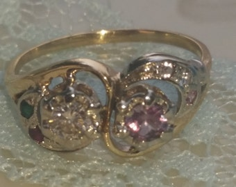 HUGE SALE Today 400 Off Genuine Diamond and Alexandrite Ring.Tiny gemstone surround. ruby. emerald. diamond. pink zircon.  size 7. 14 k gold