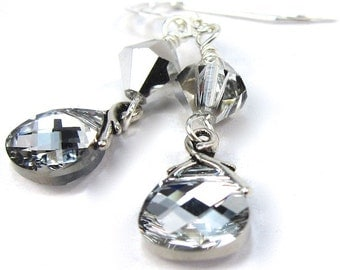 Silver Crystal Earrings of Swarovski Crystal Cal Crystals and Briolettes