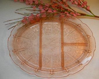 PLATTER, Vintage Pink Depression CHERRY BLOSSOM Divided Platter