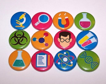 "Scientist Science Lab Set of 12 Party Favor Buttons 1"" or 1.5"" Pin Back Buttons or 1 Inch Magnets"
