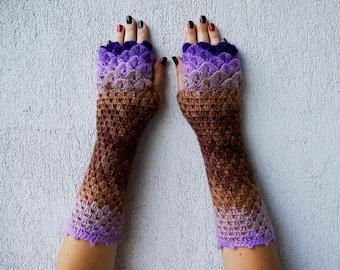 Fingerless Gloves Handmade Wrist Warmers Arm Warmers Mitts Ladies fingerless gloves in violet caramel lacy long mittens womens fingerless