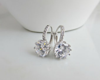 Diamond Earrings, Bridal Earrings, Swarovski Earrings, Bridesmaid Earrings, British Seller UK, Gift for Girls, Single Diamond Earrings, BFF