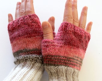 Pink Arm Warmer Knitting Fingerless Gloves / Batik colors./ Pink and cream. / Arm Mittens. / Valentines days. Spring fashion #4