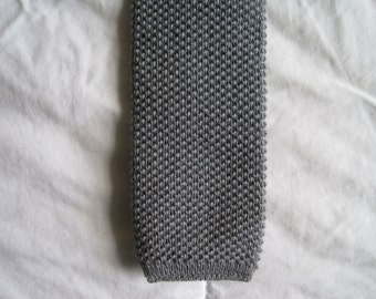 Skinny Knit Wool Wedge Tie, Gray