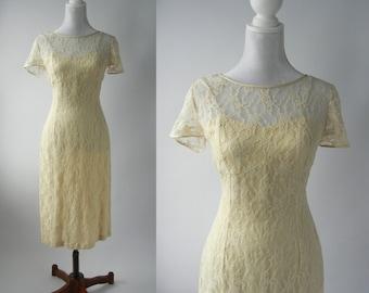 Vintage Style Dress, Vintage Lace Dress, 1950s Lace Dress, 50s Style Dress, Beige Lace Dress, 50s Beige Lace Dress, Retro Pin Up Dress, New