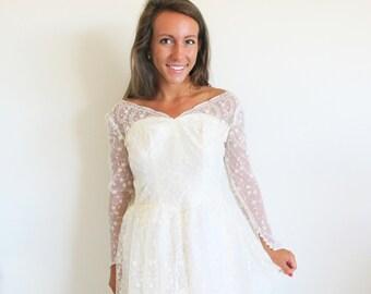 Vintage 50s Lace Wedding Dress, 1950 Bridal Gown, Tiered Skirt Gown, XS Wedding Gown, Vintage Bride