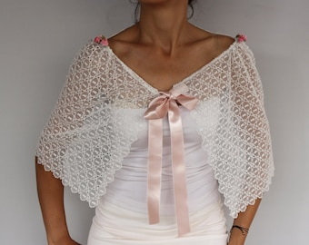 Tulle Lace Bridal Cape, Bridal Shrug, White Bolero Capelet, Bridesmaids Shawl Wrap Dress Cover Scarf, Wedding Cape Party Wear Stole