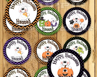 Halloween stickers Ghost Thank you tags Birthday stickers Party favor tags Custom Gift tags Cupcake toppers Birthday Party tags label PRECUT