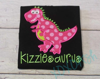 Girls Pink Dinosaur Birthday Shirt-- ANY Number Trex Shirt or Bodysuit--Embroidered Appliqued Girls Hot Pink and Lime Green Dino