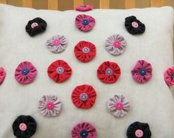 Birthday Gift Yoyo Flower Cushion Cover, lilac, grey, pink, cherry, heather, ECO friendly, Suffolk Puffs