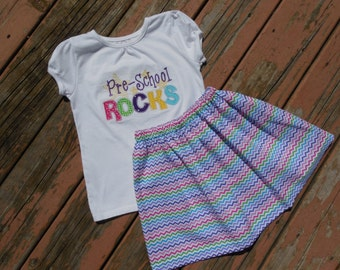 Girl's Toddlers First Day of School Outfit - Colorful Rainbow Chevron Skirt with Pre-School Rocks Shirt