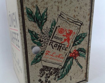 Vintage metal box, coffe tin box, advertising  and publicity box