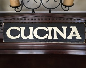 CUCINA Italian Heritage Kitchen Plaque Sign Chef Horizontal Wooden Hand Painted You Pick Color Gallery Wall Art