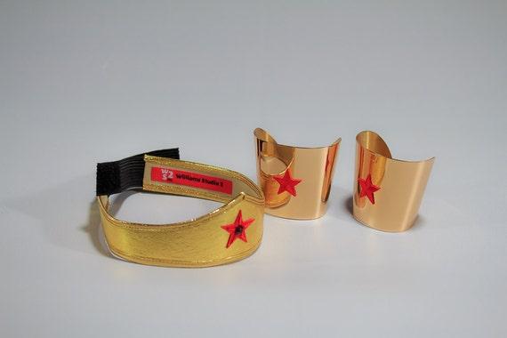 Costume Accessories Gold Leather Tiara and Brass Cuff set.Lynda Carter style superhero womens jewelry