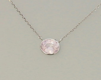 Whisper Pink Sapphire Layering Necklace in 14k White Gold with Cable Chain, September Birthstone