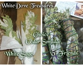 "Smudge Stick - Cedar & White Sage Bundle - Homemade - 5 Friends Blend  White Sage Sweet Grass Copal Desert Sage Native Sacred Smoke 7"" Fat"