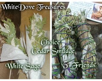 "Smudge Stick - Cedar & White Sage Bundle - 5 Friends White Sage Sweet Grass Copal Desert Sage Sacred Smoke Purification Native Ritual 7"" Fat"