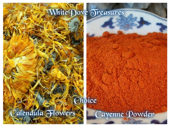 Calendula Flower Cayenne Chili Powder 1oz Organic Culinary Spice Skin Care Bath Soak Soaps Wicca Candle Spell Dreams Psychic Power Strength