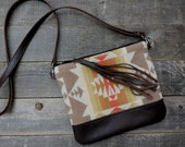 North by Northwest Fringed Crossbody Satchel Clutch // Pendleton Wool and Brown Leather // Rosebud Originals