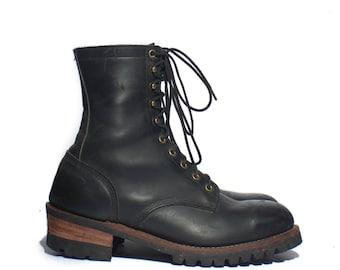 9.5 EEE | Men's Black Logger Boots Round Toe Work Boots