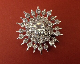Lovely 1950's Clear Double Tier Rhinestone Snowflake Brooch