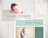 Birth Announcement Card Template: Lullaby Breeze Card B - 5x7 Card Template for Baby