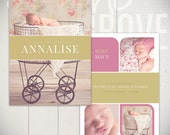 Birth Announcement Card Template: Lullaby Breeze Card C - 5x7 Card Template for Baby