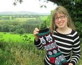 Knit Owl Holiday Stocking Black Unusual Modern Xmas Christmas Stocking Fair Isle (Ready to Ship) BlLR