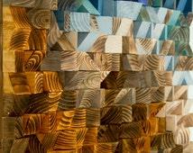 "Reclaimed Wood wall Art, wood mosaic, geometric art 30""x 30"", wood wall art - ""Fighting River"""