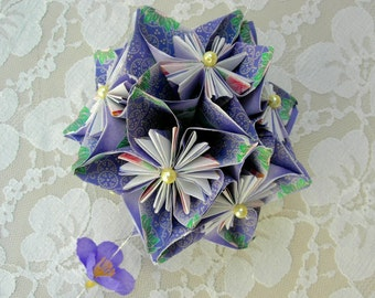 Intricate Japanese Kusudama, origami flower ball, beaded silk tassel, great for decorating or a gift, vintage unused