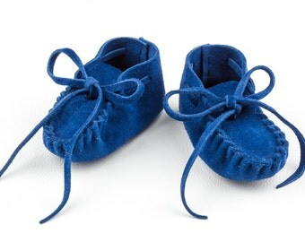 Baby Moccasins, American Handmade, Newborn Deer Hide Booties, Toddler Leather Shoes, Blue Suede Deerskin, 1st Birthday Moc, Baby Shower Gift