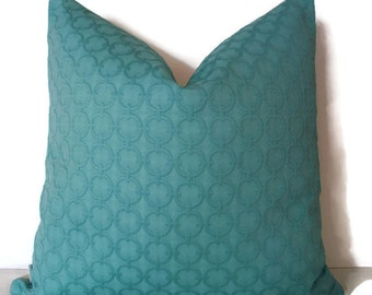 Aqua Pillow Cover, Turquoise Pillow Cover Waverly Full Circle Turquoise