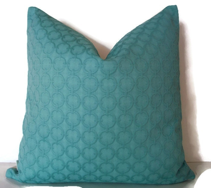 Turquoise Pillow Cover Solid Aqua Decorative Pillow Cover