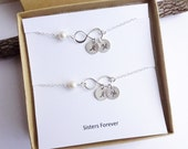 Set of Two Sterling Silver Infinity Bracelets with Initials -- Sisters Sentiment Card