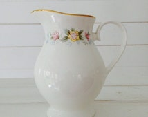 Pastel Floral White antique milk jug or creamer Mayfair vintage fine English bone china for Mismatched tea party set