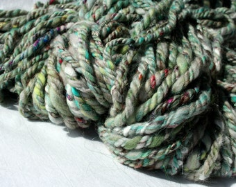 Handspun Merino Wool Yarn, Green, Super Bulky, 3 ply, 160 yards International Shipping - Ground Cover