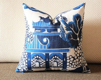 Designer cotton linen Pillow -Lee Jofa Willow Pattern Chinoiserie Pillow Cover, blue Pillow - Throw Pillow 321