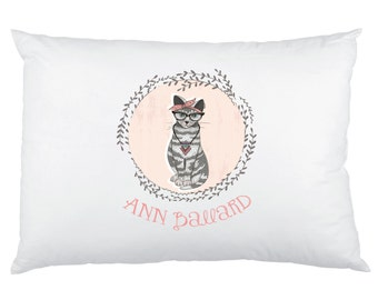 Hipster Cat - Hipster Fox Personalized Pillowcase - Custom Printed Children's Pillow Cases - Birthday Gift