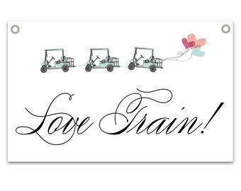 Love Train! Gold Cart Sign - Wedding Sign for Golf Cart Shuttle